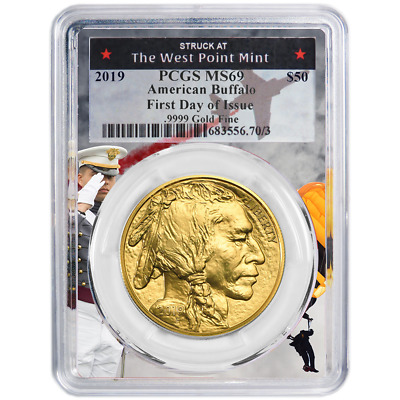 2019 $50 American Gold Buffalo PCGS MS69 FDOI West Point Frame