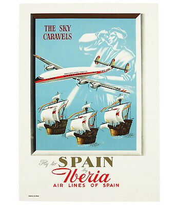 FLY TO SPAIN BY IBERIA – THE SKY CARAVELS, Original Travel Poster, ca. 1952