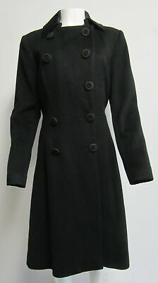 GIVENCHY black wool/cashmere double breasted flare coat w/ satin collar SZ 42