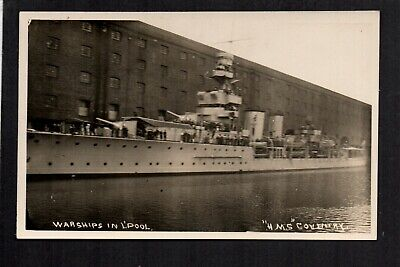 """Liverpool - Warship """"H.M.S. Coventry"""" in Docks - real photographic postcard"""