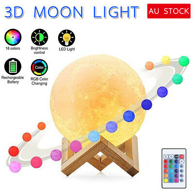 15 Dimmable 3D Magical Moon Lamp USB LED Night Light Moonlight Gift Touch Sensor