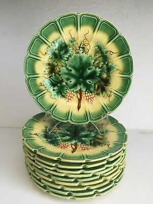 10pcs Antique SARREGUEMINES Majolica Pottery Plate Grape Bunch Vine Pattern