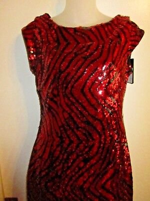 eadebea2 Guess NWT $138 6 Dress Allover Sequin Black Red Zebra Cocktail Bright Shiny  Sexy