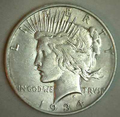1934 D Silver Peace Dollar United States Coin Denver Mint Very Fine VF $1 #JC