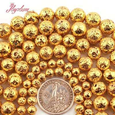 """Round Spone Gold Plated Lava Rock Volcanic Stone Bead For Jewelry Making 15""""DIY"""