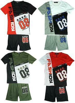 Boys College 08 Fashion T-shirt Top & Shorts Set Summer Kit Outfit 2 to 14 Years