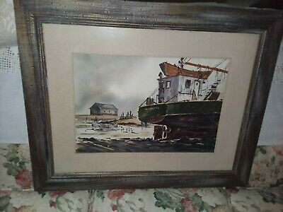 Original Vintage Signed Listed Artist Edward Mayo 1966 Boat Watercolor Painting