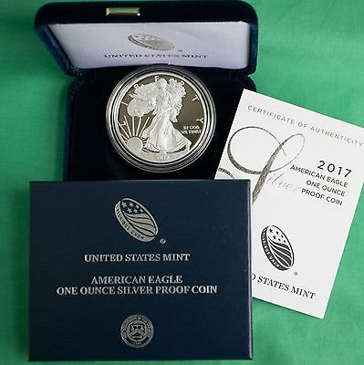 2017 W AMERICAN SILVER EAGLE PROOF DOLLAR US Mint ASE Coin with Box and COA