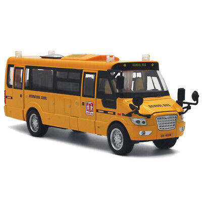 School Bus Car Model Toy Alloy Pull Back Vehicle Gift Metal Light Diecast Sound