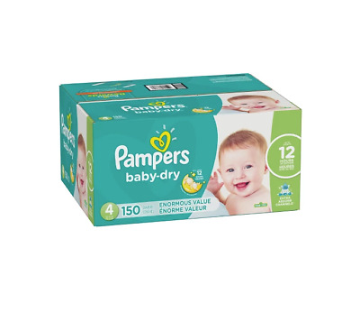 Pampers Baby Dry Diapers Size 4 150 Count, New