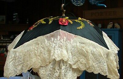ANTIQUE 1800s MUSEUM QUALITY ROSETTE & LACE PARASOL prettiest EVER