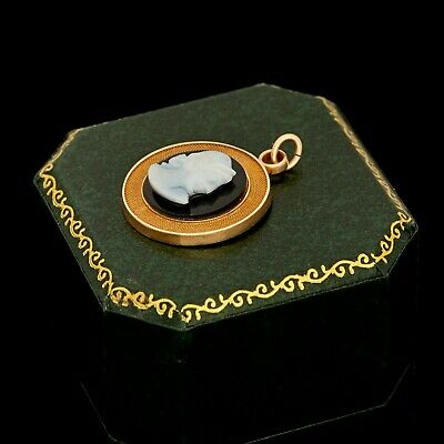 Antique Vintage Deco 14k Gold Etruscan Grecian Onyx Shell Cameo Charm Pendant