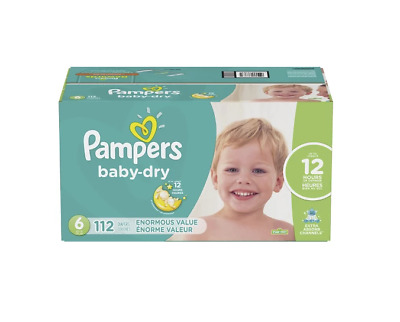 Pampers Baby Dry Diapers Size 6 112 Count , New