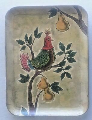 Vintage Decoupage paper Mache Enesco Serving Tray-Partridge in a Pear Tree