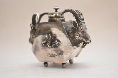 RARE Original Antique 1800s Sterling Silver 84 Russian Imperial Hunting Inkwell