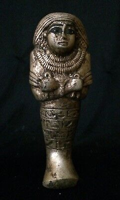 Ancient Egyptian Antiques Egypt Statue Pharaoh Ushabti Shabti Gold Paint Stone