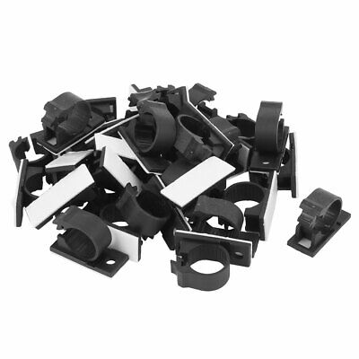 30 Pcs 16mmx39mm White Adhesive Backed Nylon Wire Adjustable Cable Clips Clamps