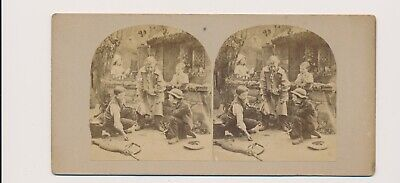 1870's Tan Mount SV Knuckle Down Children Playing Marbles Hat Full of Winnings