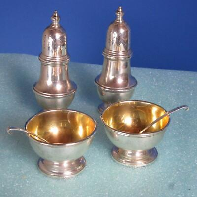 Tiffany Sterling Silver - 6 Piece Salt and Pepper - Shaker Cellar and Spoon Set