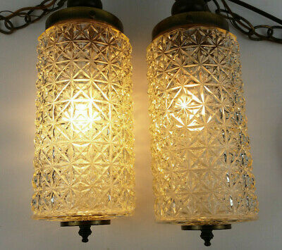 MCM Modern Double Clear Glass Pendant Lamp Glass Cylinders Lincoln Lighting