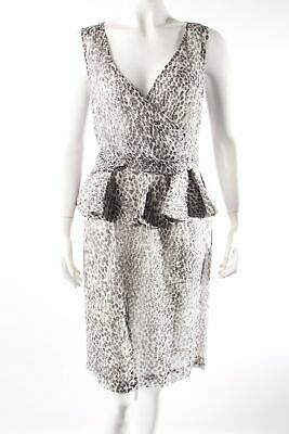 Angel Schlesser Cocktailkleid Animalprint Damen Gr. DE 38 creme Kleid Dress