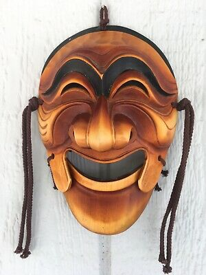 RARE VTG Antique Korean Mask Koomote Noh Theater Wood Hand Carved signed MINT
