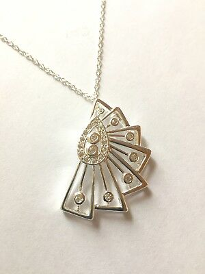 Silver Art Deco Retro Necklace Pendant Jewelry Stamped CZ Vintage Style Flapper