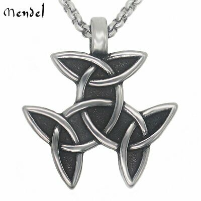 MENDEL Mens Infinite Pattern Celtic Knot Necklace Pendant Stainless Steel Amulet