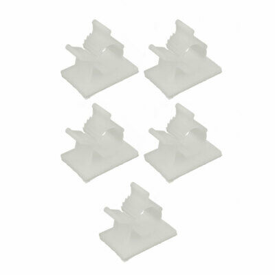 5 Pcs Self Adhesive Adjustable Wire Cable Tie Sticker Clip Off-White 11mm