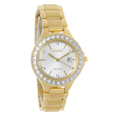 Citizen Eco-Drive Ladies Silhouette Crystal Bezel Gold Tone Watch FE1192-58A
