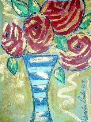 Original painting By PB red roses impressionist hippy flower child art  9x12 NR