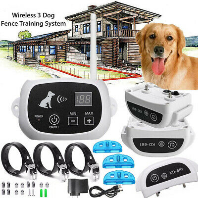 Wireless 1/2/3 Dog Fence Pet Containment System Transmitter Collar Waterproof US