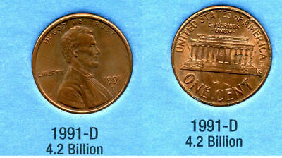 1991 D ABE Lincoln Memorial AMERICAN PENNY 1 CENT US U.S AMERICA ONE COIN #B1