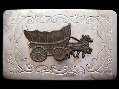 JB05107 VINTAGE 1970s **COVERED WAGON** WESTERN STYLE BELT BUCKLE