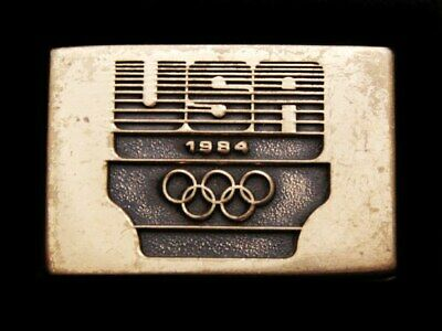 Il03147 Vintage ***1984 Usa Olympics Committee*** Solid Brass Belt Buckle