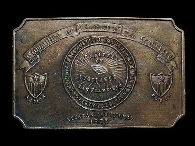 NB15121 VINTAGE 1970s **COMMITTEE OF VIGILANCE OF SAN FRANCISCO** BELT BUCKLE