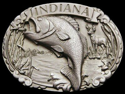Il11140 *Nos* Vintage 1986 **Indiana** Large Mouth Bass Pewter Belt Buckle