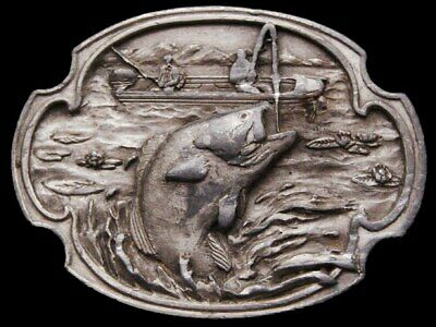 Jb25143 Vintage 1984 Siskiyou **Bass Fishing Comemmorative** Pewter Belt Buckle