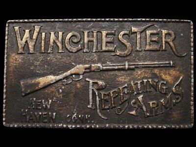 IL25144 RUGGED VINTAGE 1970s **WINCHESTER** FIREARMS GUN BELT BUCKLE