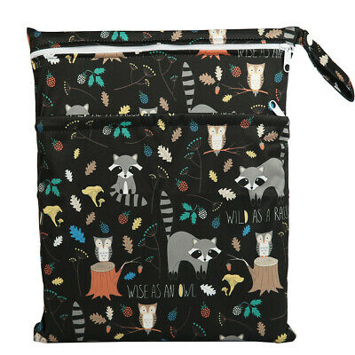 Wet Dry Bag Baby Cloth Diaper Nappy Bag Double Zippers Pocket Racoon Owl Animal
