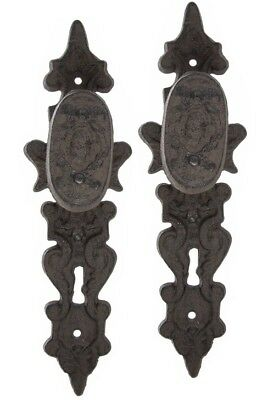 2pc Rustic Architectural French Country Iron Door Knob Pull Handle Set Key Hole