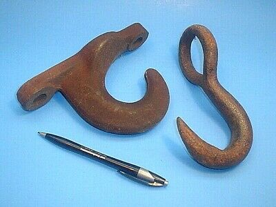 2 Big Industrial Heavy Duty Iron Hooks One With Mounting Holes