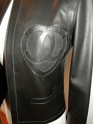 Chanel Lambskin Leather Heart Jacket Top Black 09C Size 36 Nwot Gorgeous Rare