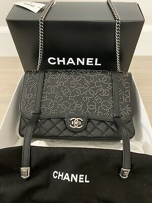 58d988849376 Chanel Black Leather Cc Icon Flap Bag Rare Runway 14A Brand New With Tags  Boy