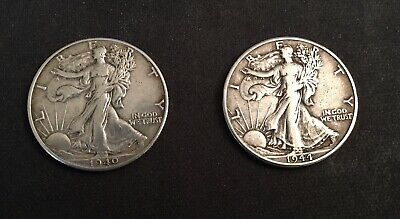 2 -Walking Liberty Half Dollars-1940-P, 1944-D , Fine to VF+ Condition