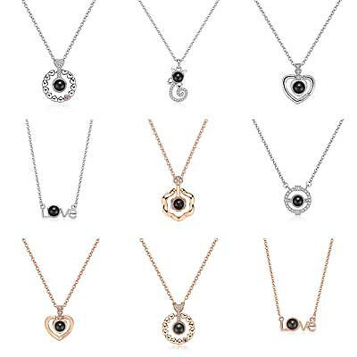 Hot 100 languages I love you Projection Pendant Necklace Women Party Gift Charm