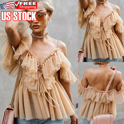 Women Strappy Ruffled Tops Summer Casual Cami Vest T-Shirt Tank Tee Sling Blouse