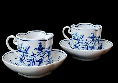 Meissen Blue Onion Full Sized Quatrefoil Cup and Saucer Set of 2