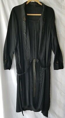 True Antique 1920 Flapper Black Silk Embroidered Mourning Dress