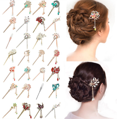 Chinese Style Metal Rhinestone Hair Chopsticks Hair Stick Hairpin Chignon Pin L7